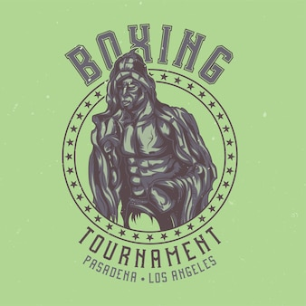 Design de etiqueta de camiseta com lutador de caixa