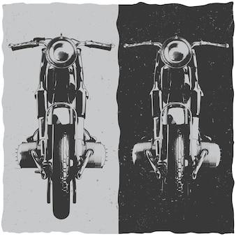 Design de etiqueta de camiseta de motocicleta com ilustração de motocicleta clássica