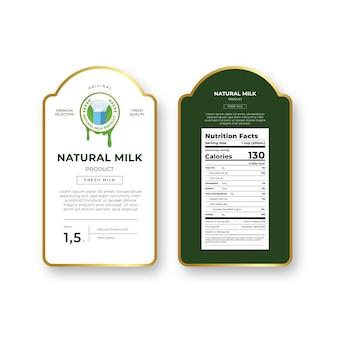 Design de etiqueta de leite