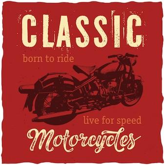 Design de etiqueta de motocicletas clássicas para camisetas, pôsteres, cartões etc.