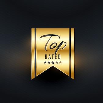 Design de etiqueta de ouro com classificação superior