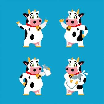 Design de etiqueta de personagem de desenho animado de vaca