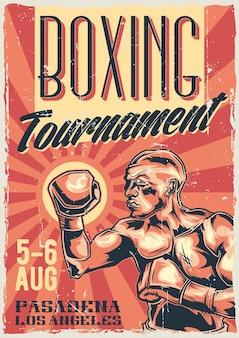 Design de etiqueta de pôster com ilustração de lutador de caixa