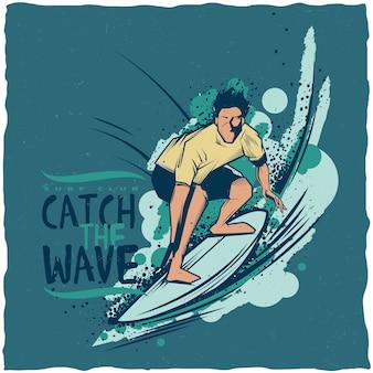 Design de etiqueta de surf
