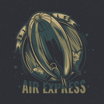 Design de etiqueta de t-shirt com ilustração de dirigível a voar.
