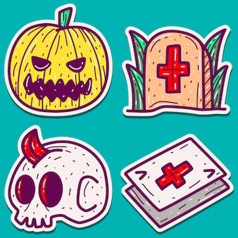 Design de etiqueta do doodle halloween