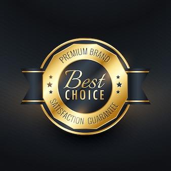 Design de etiqueta dourada de melhor escolha