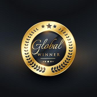 Design de etiqueta dourada do vencedor global