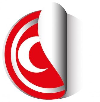 Design de etiqueta para a bandeira da turquia