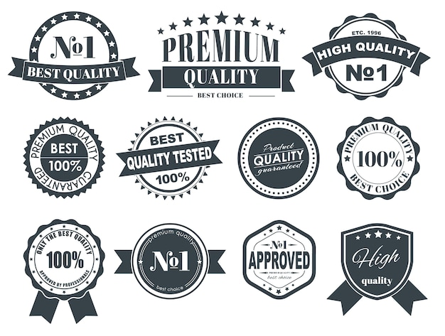 Design de etiquetas com a marca de qualidade
