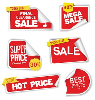 Design de etiquetas ou rótulos de desconto de venda