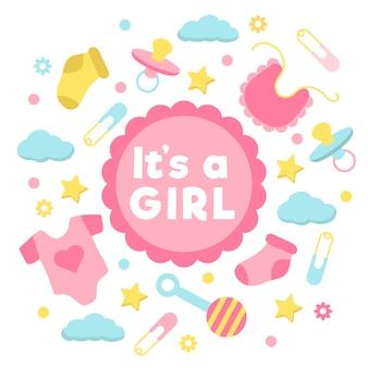 Design de evento de chuveiro bebê menina