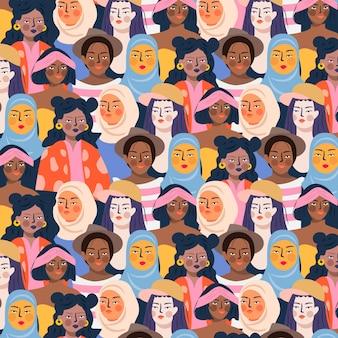 Design de evento dia das mulheres com padrão de rostos de mulheres