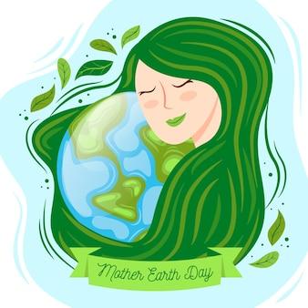 Design de evento do dia da mãe terra desenhados à mão