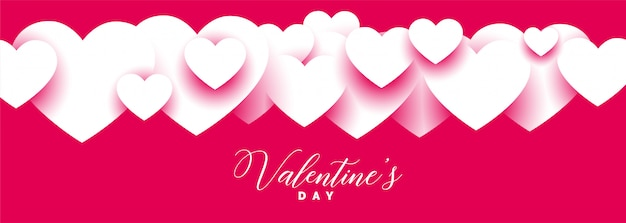 Design de faixa larga elegante dia dos namorados rosa