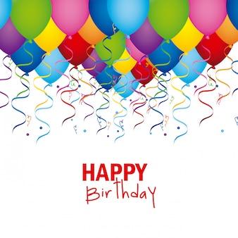 Design de feliz aniversário sobre fundo branco