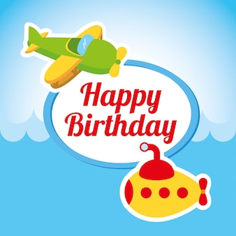 Design de feliz aniversário sobre ilustração em vetor fundo céu