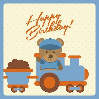 Design de feliz aniversário sobre ilustração vetorial de fundo pontilhada