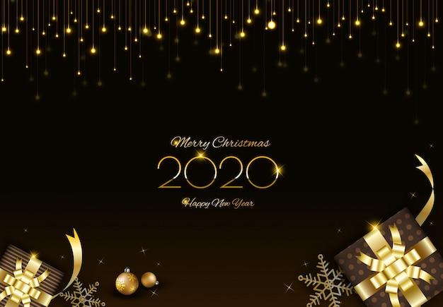 Design de feliz natal com cortina de luzes brilhantes e caixas de presente