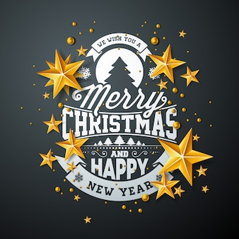 Design de feliz natal com estrela de ouro e elemento de tipografia