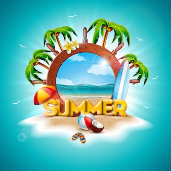 Design de férias de verão com volante de navio e palmeiras