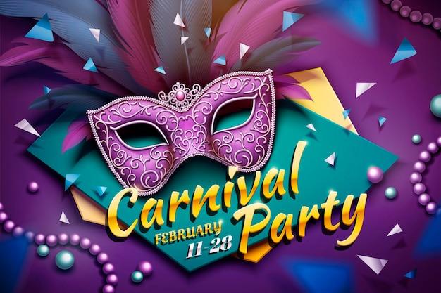 Design de festa de carnaval com máscara decorativa e miçangas em ilustração 3d