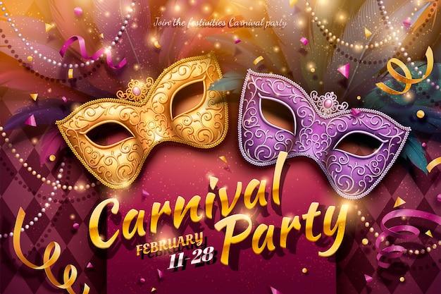 Design de festa de carnaval com máscaras decorativas e miçangas em ilustração 3d