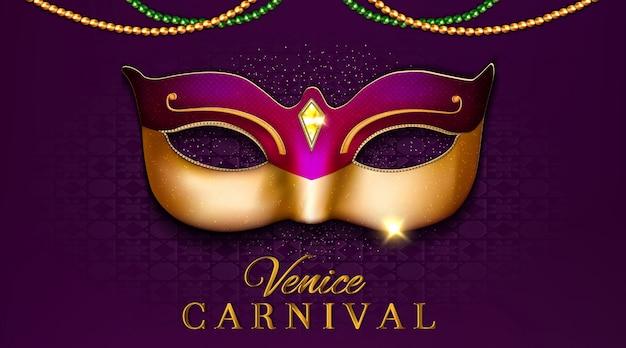 Design de festa de carnaval de veneza de luxo com ilustração 3d de máscara