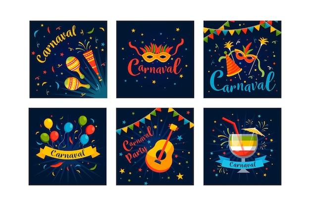 Design de festa de carnaval para coleção de post no instagram