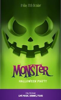 Design de festa de halloween, com lanterna de abóbora assustadora e lugar para texto. ilustração