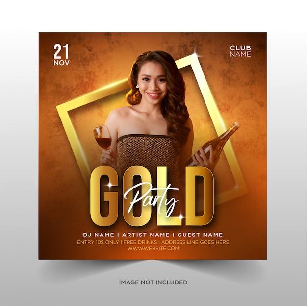 Design de festa de ouro para promoção de mídia social
