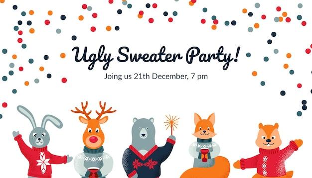 Design de festa de suéter feio / cad / convite com animais fofos