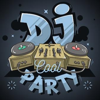 Design de festa legal dj para cartaz de evento. mixer de som e gramofon
