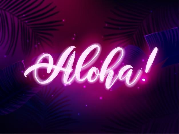 Design de festa tropical em azul escuro e violeta com folhas de palmeira e letras de néon