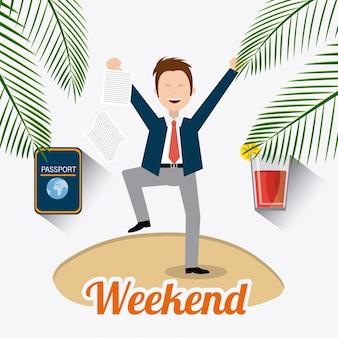 Design de fim de semana feliz.