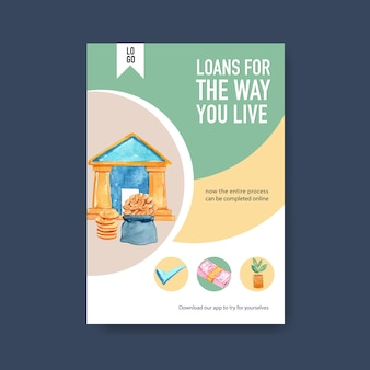 Design de finanças de cartaz para bancário, negócios e moeda aquarela ilustração