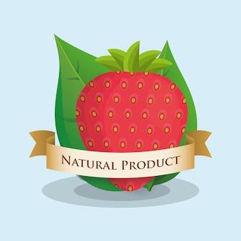 Design de fita de produto natural de morango