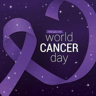 Design de fita roxa, dia mundial do câncer, quatro de fevereiro, campanha de conscientização e tema de prevenção de doenças