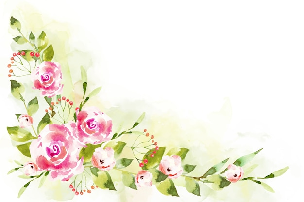 Design de flores em aquarela para papel de parede