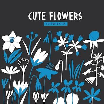 Design de flores modernas. estilo escandinavo. ilustrações de mão desenhada vetor no escuro.