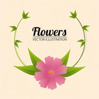 Design de flores sobre ilustração bege