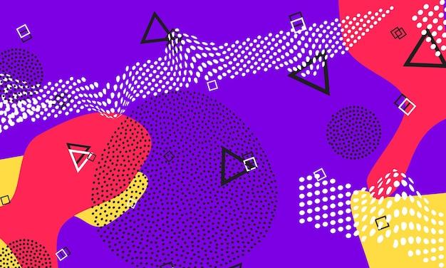 Design de fluido vermelho violeta. folheto roxo bonito. cartaz de cores do respingo. elementos líquidos vermelhos e amarelos. padrão bonito funky.