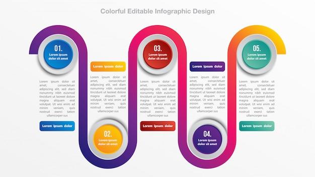 Design de fluxo colorido infográfico