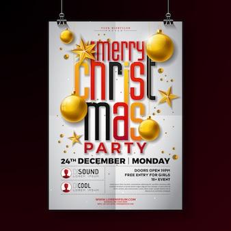 Design de flyer de festa de natal com estrela de ouro e bola de vidro