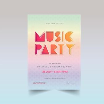 Design de flyer music party com padrão geométrico e detalhes de eventos em cores gradientes.