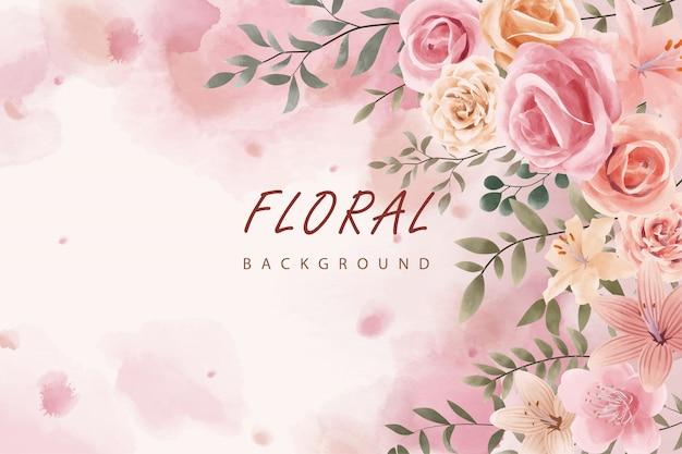 Design de folhas florais em aquarela rosa