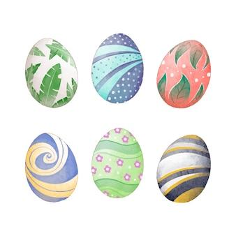 Design de folhas na aquarela de coleção de ovos de páscoa