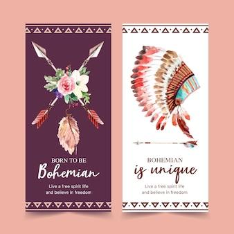 Design de folheto boêmio com flor, seta, ilustração em aquarela de penas.