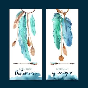 Design de folheto boêmio com ilustração em aquarela de penas.