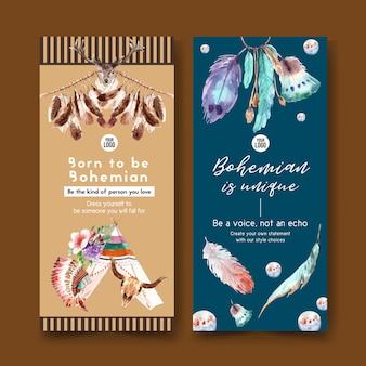Design de folheto boêmio com tenda, flor, ilustração em aquarela de penas.